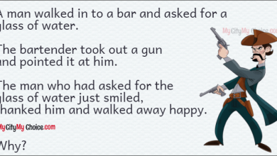 A man walked in to a bar and asked for a glass of water. The bartender took out a gun and pointed it at him. The man who had asked for the glass of water just smiled, thanked him and walked away happy. Why?