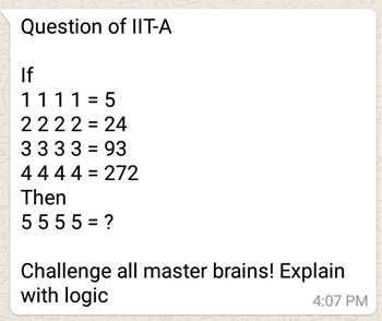 Question of IIT-A : If 1 1 1 1 = 5 Then 5 5 5 5 = ?