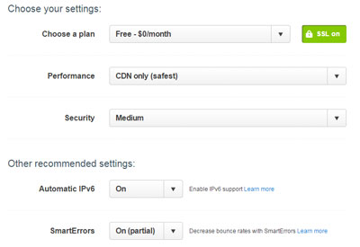Choose your settings for cloudflare CDN