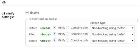 W3 total cache Java script minify option