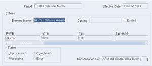 ZA Tax Balance adjustment for SARS