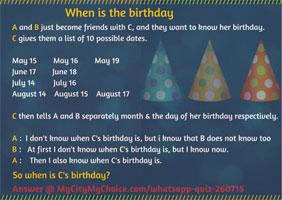 Whatsapp Quiz : When is the birthday