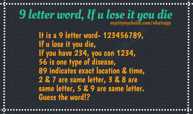 9 letter word : If u lose it you die