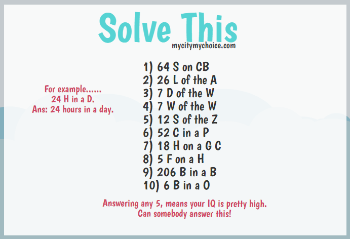 Solve this.. For example 24 H in a D Ans: 24 hours in a day