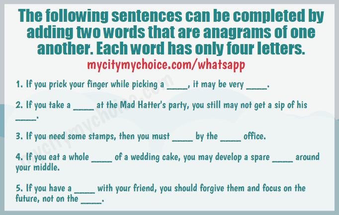 The following sentences can be completed by adding two words