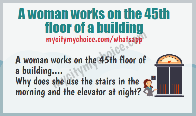 A woman works on the 45th floor of a building