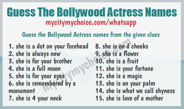 Guess The Bollywood Actress Names