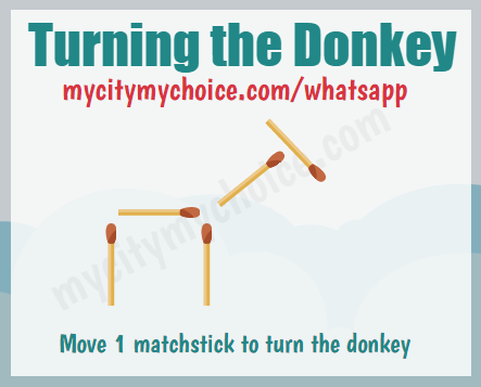 Move 1 matchstick to turn the donkey