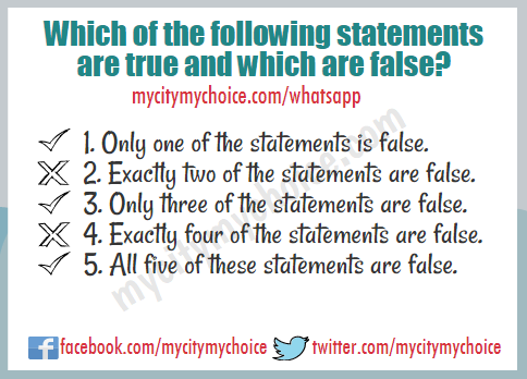 1. Only one of the statements is false. 2. Exactly two of the statements are false. 3. Only three of the statements are false. 4. Exactly four of the statements are false. 5. All five of these statements are false.