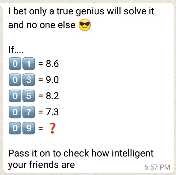 I bet only a true genius will solve it - Whatsapp Puzzle