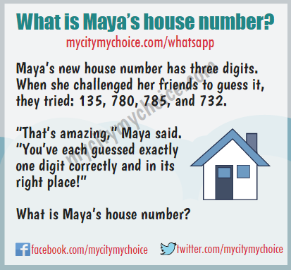 "Maya's new house number has three digits. When she challenged her friends to guess it, they tried: 135, 780, 785, and 732. ""That's amazing,"" Maya said. ""You've each guessed exactly one digit correctly and in its right place!"" What is Maya's house number?"