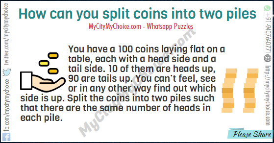 You have a 100 coins laying flat on a table, each with a head side and a tail side. 10 of them are heads up, 90 are tails up. You can't feel, see or in any other way find out which side is up. Split the coins into two piles such that there are the same number of heads in each pile.