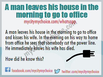 A man leaves his house in the morning to go to office and kisses his wife. In the evening on his way to home from office he sees that somebody cut the power line. He immediately knows his wife has died.
