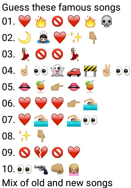 Guess these famous songs - Whatsapp Puzzle