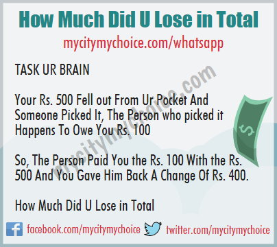 How Much Did U Lose in Total - Whatsapp Puzzle