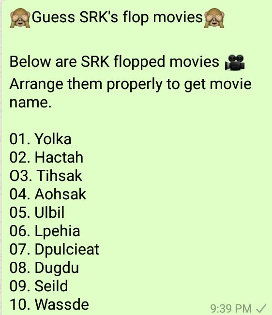 Guess SRK's flop movies - Whatsapp Puzzle
