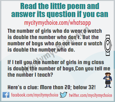 Read the little poem and answer its question if you can - Whatsapp Puzzle