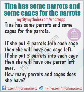 Tina has some parrots and some cages for the parrots - Whatsapp Puzzle