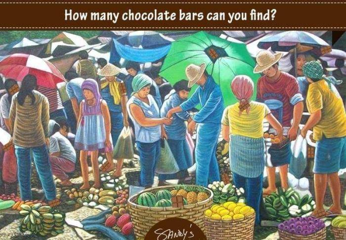 How many chocolate bars can you find? - Whatsapp Puzzle