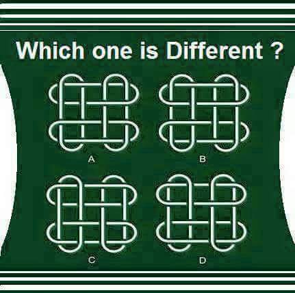 Which one is different? See the image carefully and let me know which one is different among them. It's A, B, C or D.