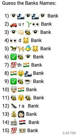 Guess the Banks Names: 1) 👁🌊👁🌊👁 Bank 2) 🚗 u r 🌱👀 Bank 3) 👁👊🏻🐝👁 Bank 4) 👀 d 🐱 Bank 5) 🐎🐕🐠🐱 Bank 6) ✅🐝👁 Bank 7) 💯th 🇮🇳 Bank 8) 🇮🇳🤑🌊 Bank 9) ✅🐝☕ Bank 10) 👳🏼🇮🇳 Bank 11) 🐝😵🐝 Bank 12) 🐜 r a Bank 13) 💰👩🏻 Bank 14) ⛪ 🇸🇾 Bank 15) 💯 💴 Bank