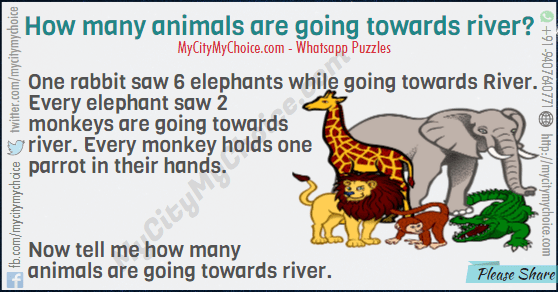 One rabbit saw 6 elephants while going towards River. Every elephant saw 2 monkeys are going towards river. Every monkey holds one parrot in their hands. Now tell me how many animals are going towards river.