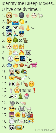 Identify the Dileep Movies.. U hve one dy time..! 1. 👩🏼👈🏼🌑☝🏼👶🏻🐐 2. 📢🚣🏿🍋a 3. 🌊👁👊🏼👃sa 4. 🏘🏃🏻👮🏼 5. 👱🌳ta🐒 6. 👶🏻😁👑 7. 🌛🌥🔥☠ 8. 🕖😎🌃🍾 9. 🐟🔥🍖📿🎀 10. 👳🏼🐝🏡 11. 😇🐂🍼N 12. 👀✌🏼i🍗😚 13.🕯😳maha❗ 14. 2👀🎄🍧 15. 🐀 & 🐈 16. 😎ra☠🐐i 17. 🌄🌼🍺🎎 18. ⚪ri🕊te👬 19. 🐼i🖼a