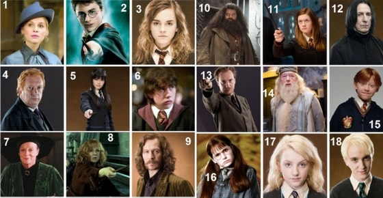 Can you identify all these 18 Harry Potter characters?