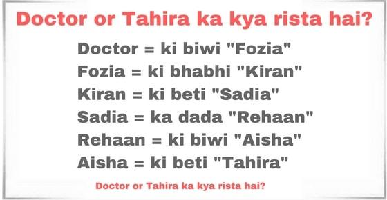 """Doctor or Tahira ka kya rista hai? Doctor = ki biwi """"Fozia"""" Fozia = ki bhabhi """"Kiran"""" Kiran = ki beti """"Sadia"""" Sadia = ka dada """"Rehaan"""" Rehaan = ki biwi """"Aisha"""" Aisha = ki beti """"Tahira"""""""