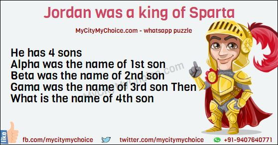 Jordan was a king of Sparta. He has 4 sons. Alpha was the name of 1st son. Beta was the name of 2nd son. Gama was the name of 3rd son Then What is the name of 4th son