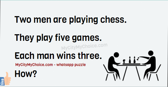 Two men are playing chess. They play five games. Each man wins three. How