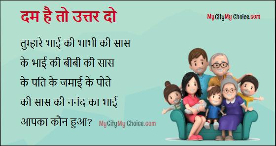 hindi riddle : Dam hai to uttar do : Tumhare bhai ki bhabhi ki sas ke bhai ki bibi ki sas ke pote ke jamai ke pote ki sas ki nanad ka bhai, aapka koun hoga?