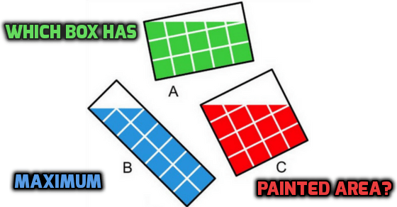 Which box has maximum painted area answer